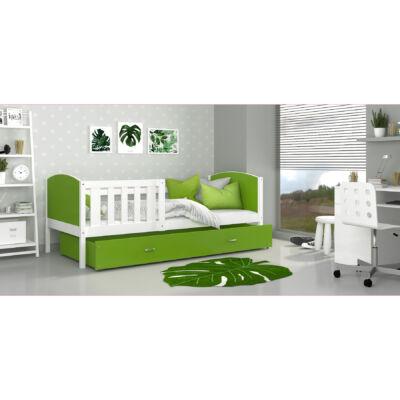 TAMI leesésgátlós ágyneműtartós gyerekágy - 3 méretben: Fehér keret - zöld támlákkal