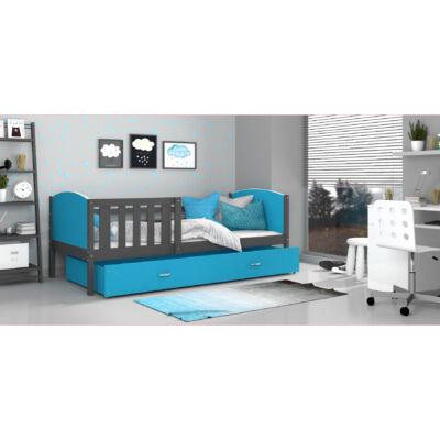 """""""TAMI"""" leesésgátlós ágyneműtartós gyerekágy - 3 méretben: Szürke keret - kék támlákkal"""