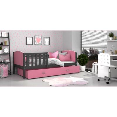 """""""TAMI"""" leesésgátlós ágyneműtartós gyerekágy - 3 méretben: Szürke keret - rózsaszín támlákkal"""