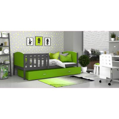 """""""TAMI"""" leesésgátlós ágyneműtartós gyerekágy - 3 méretben: Szürke keret - zöld támlákkal"""