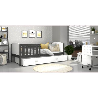 """""""TAMI"""" leesésgátlós ágyneműtartós gyerekágy - 3 méretben: Szürke keret - fehér támlákkal"""