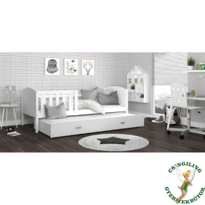 """""""TAMI"""" leesésgátlós gyerekágy pótággyal: Fehér keret - fehér támlákkal"""