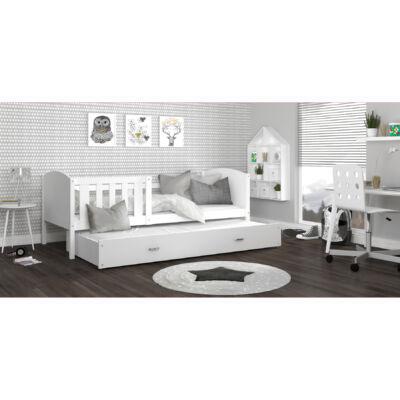 TAMI leesésgátlós gyerekágy pótággyal: Fehér keret - fehér támlákkal