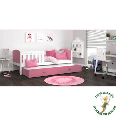 """""""TAMI"""" leesésgátlós gyerekágy pótággyal: Fehér keret - rózsaszín támlákkal"""