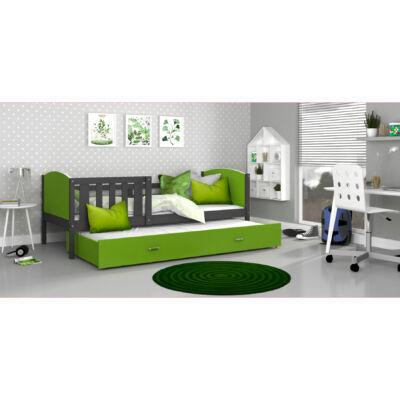 TAMI leesésgátlós gyerekágy pótággyal: Szürke keret - zöld támlákkal KÉSZLETRŐL