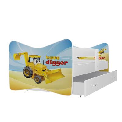"""""""TOMI"""" leesésgátlós gyerekágy ágyneműtartóval - 3 méretben: 04 Markolós traktor"""