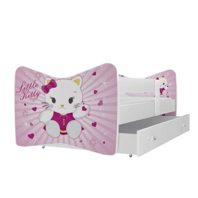 """""""TOMI"""" leesésgátlós gyerekágy ágyneműtartóval - 3 méretben: 33 Szívecskés cicás"""