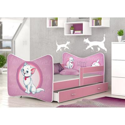 """""""TOMI"""" leesésgátlós gyerekágy ágyneműtartóval, rózsaszín kerettel, 80x160 cm: 50 Kitty cica KÉSZLETRŐL"""