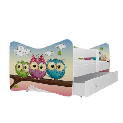 """""""TOMI"""" leesésgátlós gyerekágy ágyneműtartóval - 3 méretben: 59 Baglyos"""