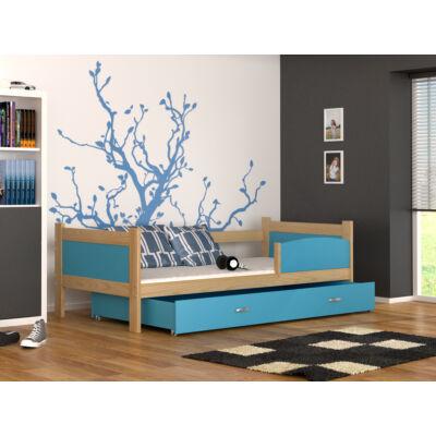 """""""TWIST"""" ágyneműtartós gyerekágy: Fenyő keret - kék betétekkel és ágyneműtartóval"""