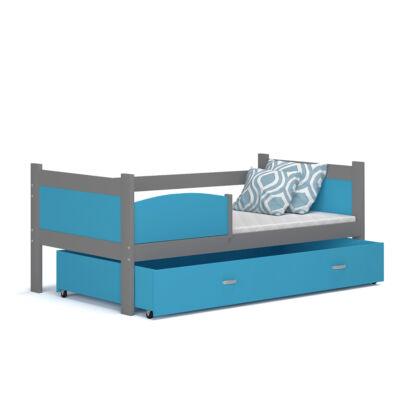"""""""TWIST"""" ágyneműtartós gyerekágy: Szürke keret - kék betétekkel és ágyneműtartóval"""