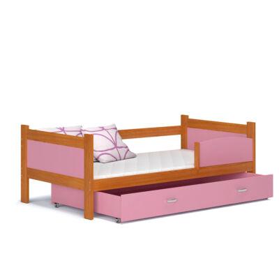 """""""TWIST"""" ágyneműtartós gyerekágy: Éger keret - rózsaszín betétekkel és ágyneműtartóval"""
