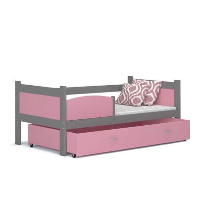 """""""TWIST"""" ágyneműtartós gyerekágy: Szürke keret - rózsaszín betétekkel és ágyneműtartóval"""