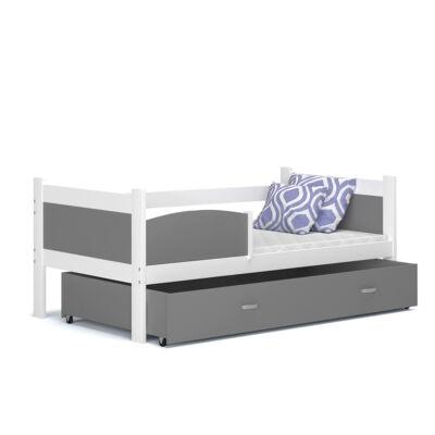 """""""TWIST"""" ágyneműtartós gyerekágy: Fehér keret - szürke betétekkel és ágyneműtartóval"""