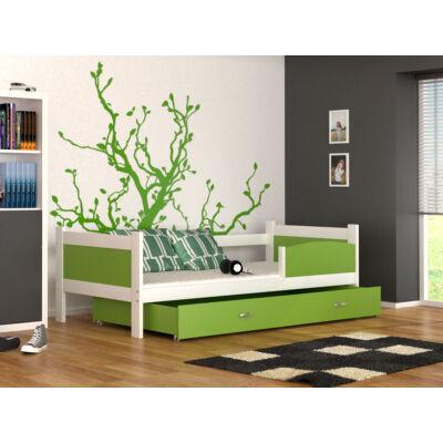 """""""TWIST"""" ágyneműtartós gyerekágy: Fehér keret - zöld betétekkel és ágyneműtartóval"""