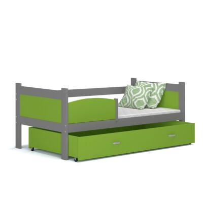 """""""TWIST"""" ágyneműtartós gyerekágy: Szürke keret - zöld betétekkel és ágyneműtartóval"""