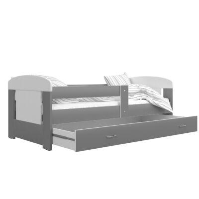 FILIP COLOR leesésgátlós ágyneműtartós gyerekágy, 80x140 cm, Szürke, KÉSZLETRŐL