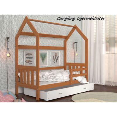 HOUSE DOMEK-2 házikó formájú gyerekágy ÁGYNEMŰTARTÓVAL - 2 méretben: Éger - fehér ágyneműtartóval