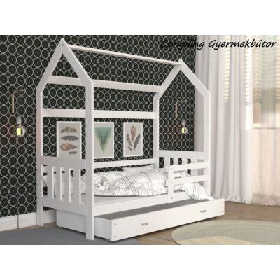 """""""HOUSE DOMEK-2"""" házikó formájú gyerekágy ÁGYNEMŰTARTÓVAL - 2 méretben: Fehér - fehér ágyneműtartóval"""