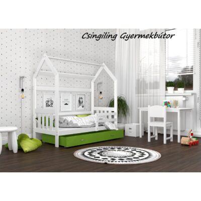 """""""HOUSE DOMEK-2"""" házikó formájú gyerekágy ÁGYNEMŰTARTÓVAL - 2 méretben: Fehér - zöld ágyneműtartóval"""