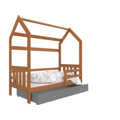 """""""HOUSE DOMEK-2"""" házikó formájú gyerekágy ÁGYNEMŰTARTÓVAL - 2 méretben: Éger - szürke ágyneműtartóval"""