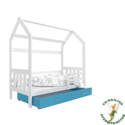 """""""HOUSE DOMEK-2"""" házikó formájú gyerekágy ÁGYNEMŰTARTÓVAL - 2 méretben: Fehér - kék ágyneműtartóval"""