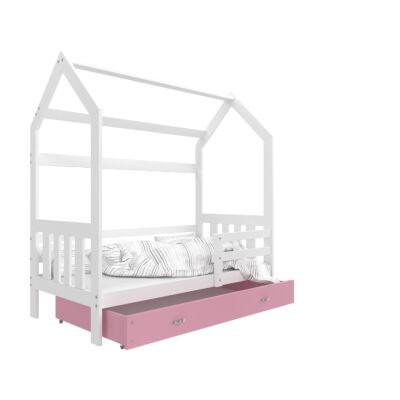 """""""HOUSE DOMEK-2"""" házikó formájú gyerekágy ÁGYNEMŰTARTÓVAL - 2 méretben: Fehér - rózsaszín ágyneműtartóval"""