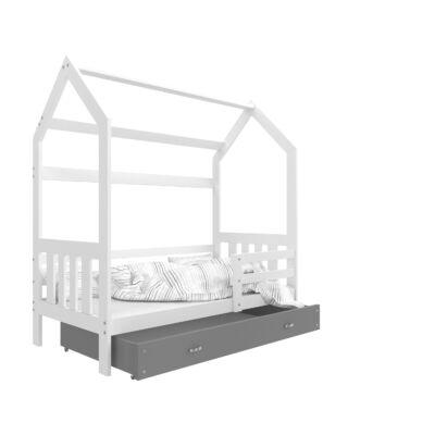 HOUSE DOMEK-2 házikó formájú gyerekágy ÁGYNEMŰTARTÓVAL 80x190 cm: Fehér - szürke KÉSZLETRŐL