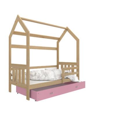 """""""HOUSE DOMEK-2"""" házikó formájú gyerekágy ÁGYNEMŰTARTÓVAL - 2 méretben: Fenyő - rózsaszín ágyneműtartóval"""