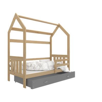 HOUSE DOMEK-2 házikó formájú gyerekágy ÁGYNEMŰTARTÓVAL - 2 méretben: Fenyő - szürke ágyneműtartóval