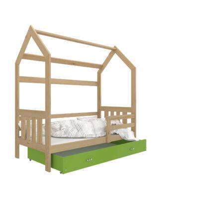 """""""HOUSE DOMEK-2"""" házikó formájú gyerekágy ÁGYNEMŰTARTÓVAL - 2 méretben: Fenyő - zöld ágyneműtartóval"""