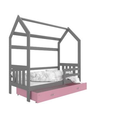 """""""HOUSE DOMEK-2"""" házikó formájú gyerekágy ÁGYNEMŰTARTÓVAL - 2 méretben: Szürke - rózsaszín ágyneműtartóval"""