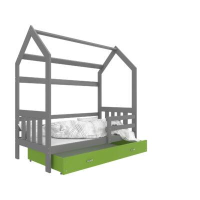 """""""HOUSE DOMEK-2"""" házikó formájú gyerekágy ÁGYNEMŰTARTÓVAL - 2 méretben: Szürke - zöld ágyneműtartóval"""
