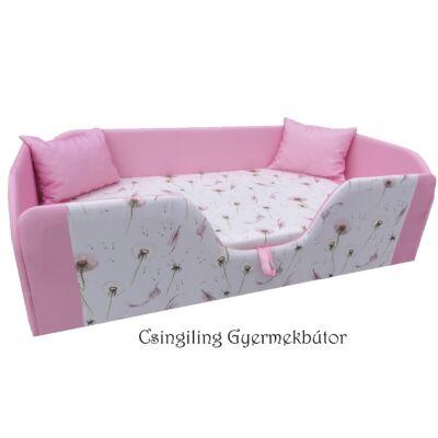 """""""DIAMOND"""" KÁRPITOS leesésgátlós gyerekágy - 63x150 cm-es fekvőfelülettel: rózsaszín - Dandelion"""