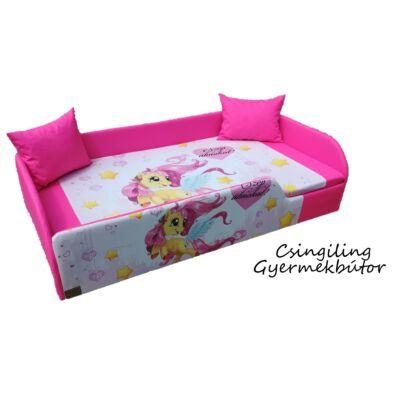"""""""DIAMOND"""" KÁRPITOS leesésgátlós gyerekágy - 83x165 cm-es fekvőfelülettel: Pink - Pony"""