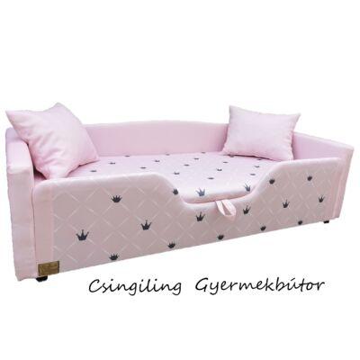 """""""DIAMOND"""" KÁRPITOS leesésgátlós gyerekágy - 63x150 cm-es fekvőfelülettel: Rózsaszín- rózsaszín Chesterfield"""