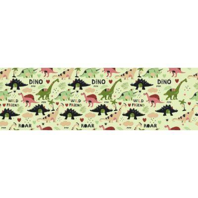 Sky eco prémium gyerekágy íves háttámlával: tetszőleges színű eco bőr keret - Diamond Dino háttámla és fekvő