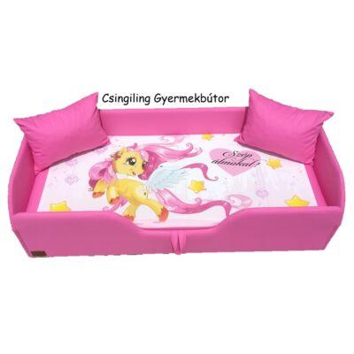 """""""DIAMOND"""" KÁRPITOS leesésgátlós gyerekágy - 63x150 cm-es fekvőfelülettel: Pink keret - Pony fekvőfelület"""