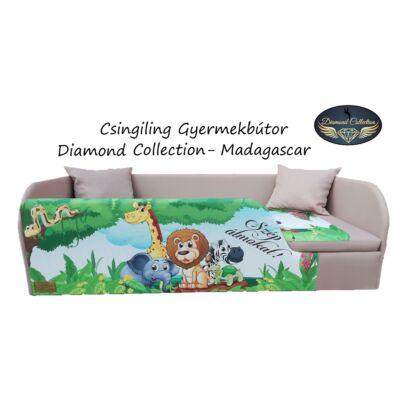 """""""DIAMOND"""" KÁRPITOS leesésgátlós gyerekágy - 83x165 cm-es fekvőfelülettel:  Kávé - Madagascar"""