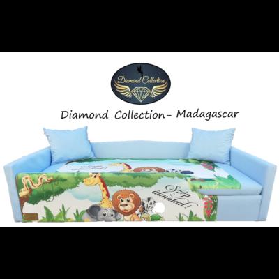 Diamond leesésgátlós kárpitos gyerekágy: világoskék Madagascar állatos 10