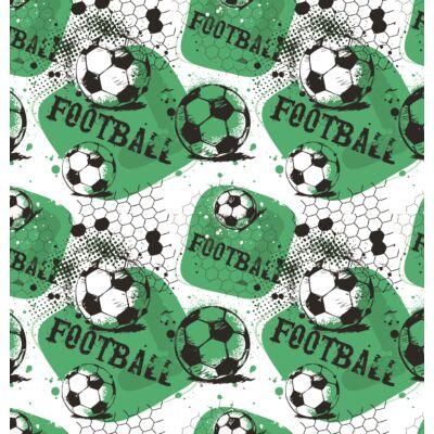 """""""DIAMOND"""" KÁRPITOS leesésgátlós gyerekágy - 63x150 cm-es fekvőfelülettel: Football - tetszőleges egyszínű szövettel kombinálva"""