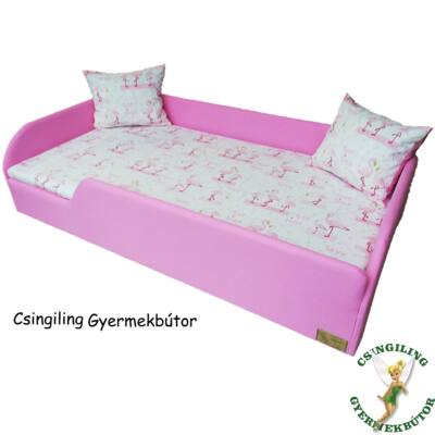 """""""MELANGE"""" KÁRPITOS leesésgátlós gyerekágy - 83x165 cm-es fekvőfelülettel: Wextra Pink keret - flamingós fekvő"""