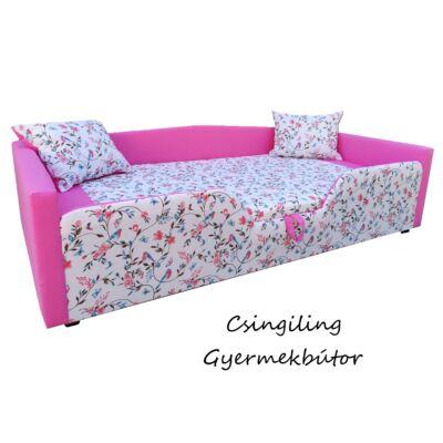 """""""SUNSHINE"""" KÁRPITOS leesésgátlós gyerekágy - 63x150 cm-es fekvőfelülettel: Pink - türkiz madaras"""
