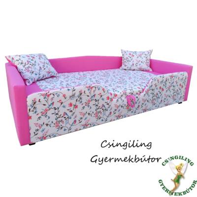 """""""SUNSHINE"""" KÁRPITOS leesésgátlós gyerekágy - 83x165 cm-es fekvőfelülettel: Pink - türkiz madaras"""