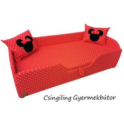 """""""SUNSHINE"""" KÁRPITOS leesésgátlós gyerekágy - 63x150 cm-es fekvőfelülettel:  Piros pöttyös (Minnie fantázia párnákkal is kérhető)"""