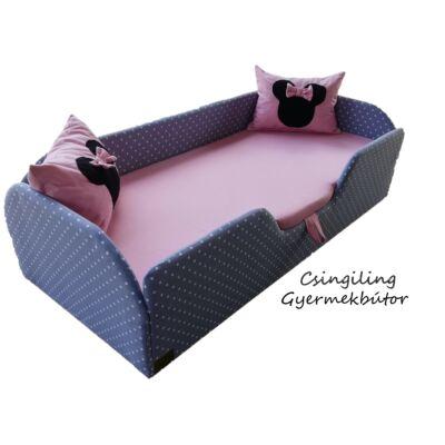 """""""SUNSHINE"""" KÁRPITOS leesésgátlós gyerekágy - 63x150 cm-es fekvőfelülettel: Szürke pöttyös keret - Rózsaszín fekvővel - (Minnie fantázia párnákkal is kérhető)"""