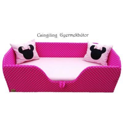 """""""SUNSHINE"""" KÁRPITOS leesésgátlós gyerekágy - 63x150 cm-es fekvőfelülettel:  Pink pöttyös keret - Puncs fekvőfelülettel  (Minnie fantázia párnákkal is kérhető)"""