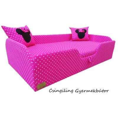 """""""SUNSHINE"""" KÁRPITOS leesésgátlós gyerekágy - 63x150 cm-es fekvőfelülettel: Pink pöttyös (Minnie fantázia párnákkal is kérhető)"""