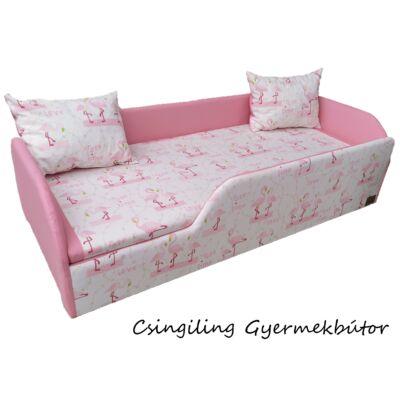 Sunshine leesésgátlós kárpitos gyerekágy: rózsaszín flamingós