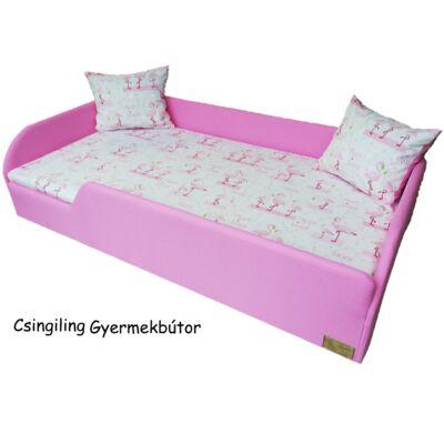 """""""SUNSHINE"""" KÁRPITOS leesésgátlós gyerekágy - 83x165 cm-es fekvőfelülettel:  Puncs keret - flamingós fekvőfelület"""